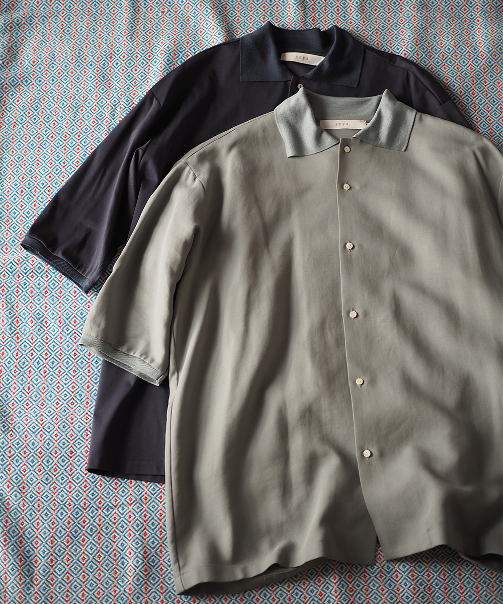 SEYA. #06 Silk collar polo /Light cotton twill(Green grey)